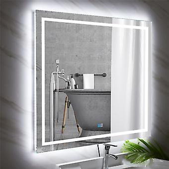 100x80 Larger Brighter Led Backlit Lighted Bathroom Mirror Fogless Touch Switch