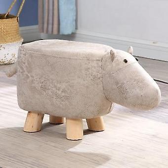 Tömör fa aranyos rajzfilm állat gyerek nappali szék és footstool pouf