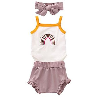 Newborn Baby Summer Cotton Outfits Sleeveless Rainbow Romper Top Jumpsuit