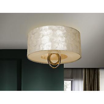 Schuller Edén - Semi Flush Loft Light Cylindrical, Guld, Black Leaf, Perlemor, 3x E27