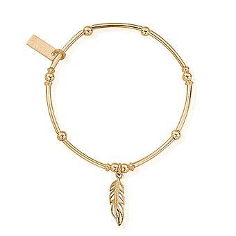 ChloBo GBMNB1089 Gold Tone Mini Noodle Ball Filigree Feather Bracelet