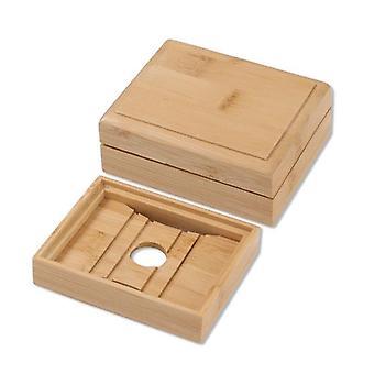 Porta vassoio per piatti in sapone di bambù naturale in legno