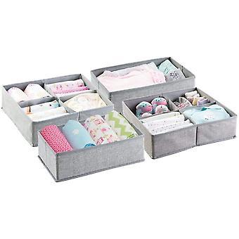 HanFei 4er Aufbewahrungsboxen Set – Graue Aufbewahrungsboxen Kunststoff – Kinderschrank