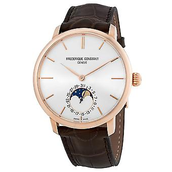 Frederique Constant SlimLine 18kt Rose Gold Moonphase Automatic Silver Dial Men's Watch FC-705V4S9