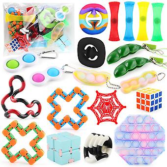 Fidget Leker Sensory Set Bundle Stress Relief Baller Med Opp bag