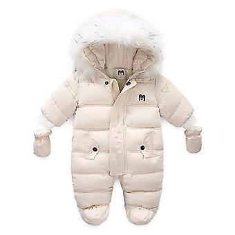 Neugeborenen Baby Winterkleidung, Unisex Kapuze, Langarm, Daunen-Schneeanzüge