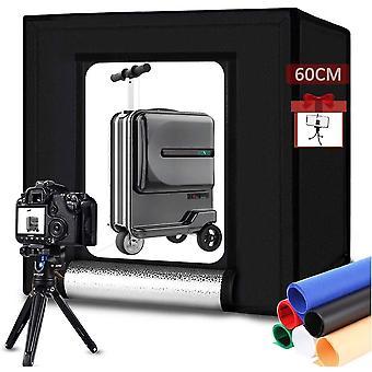 Wokex Photo Box Studio 60x60cm Tragbare Fotostudio Lichtzelt Set mit Weißes Licht Dimmbare 2x60stk