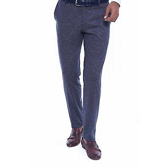 Self patterned navy blue fabric trouser