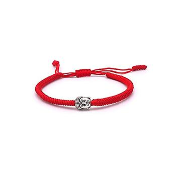 Benava, bracelet with Buddha, friendship bracelet, minimalist. and base metal, color: Color: red, cod. 0017-Rot