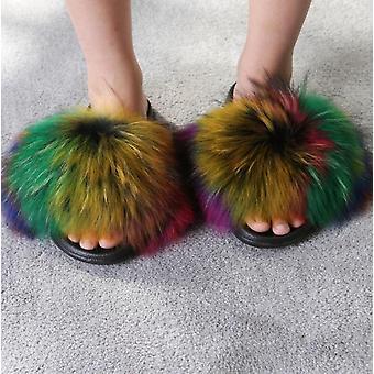 Kesä Naiset Kettu Turkis Sisä Flip Flops Casual Tossut
