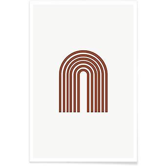 IMPRESSION JUNIQE - Arc-en-ciel - Affiche abstraite et géométrique en blanc brun et crème