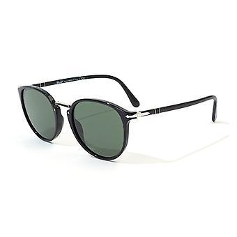 Persol Typewriter Green Lens Sunglasses - Black