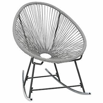 vidaXL Garden Moon Rocking Chair Grey Poly Rattan