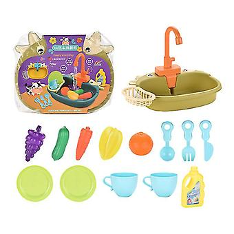 Green cute children's kitchen pretend play toyscookware pots and pans toy set x3685