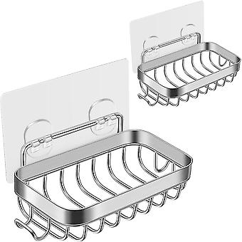As shown 2pcs soap holder 304 stainless steel bar soap holder sponge tray with traceless adhesive tape for bathroom kitchen sink dt3530