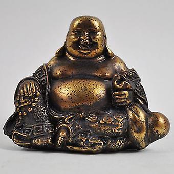 Or antique Petit or de bouddha riant Ornement de résine 8cm