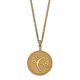 Débuts 925 Sterling Silver Womens Gold Plaqué Clair Cubique Zircone Arc &Arrow Round Disc Pendentif Collier Longueur 41cm + 5cm