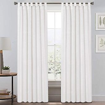 Cortinas de 2X tab top lino natural mezcladas cortinas espaciosas para la decoración del hogar de la sala de estar que reduce los paneles de cortinas del dormitorio, blanco