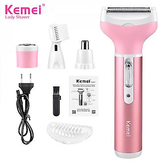Kemei Km-6637 Electric Nose Trimmer Eyebrow Trimmer Shaver 4 In 1 Pink