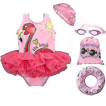 Summer beach girls?ˉ one-piece swimsuit with swimming cap, goggles and swimming ring(90-100cm)