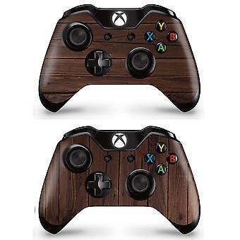 GNG 2 x WOOD-kontrollerskall som er kompatible med Xbox One Vinyl-klistremerke med full wrap