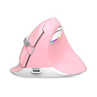 Mouse silențios fără fir Faceți clic pe șoareci verticali de computer (roz)