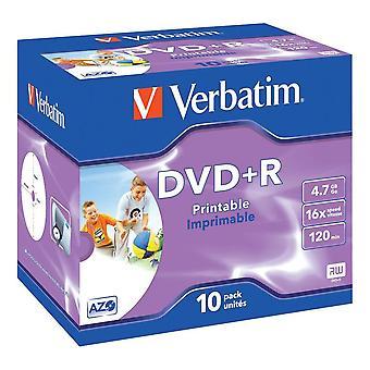 Szó szerinti DVD+R, 16x, 4,7GB/120 min,10-pack ékszerdoboz, AZO, nyomtatható