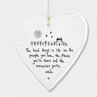Holiday ornament displays stands hanging heart christmas gift the best things in life