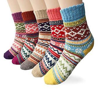 5 Paar Damen Wollsocken, dicker Strick Vintage, Winter Warme Gemütliche Geschenke