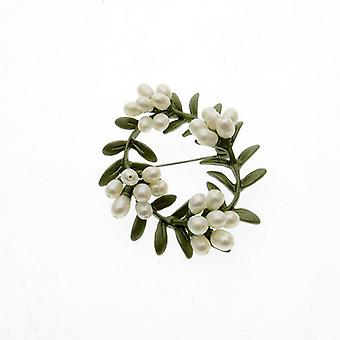 Vintage bloem parel broches pin groene antieke broche accessoires