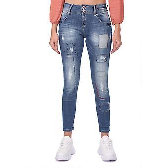 blå hvite kvinners mønstrede shalwar jeans