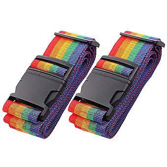 "Luggage Straps Adjustable Travel Suitcase Straps For 20""-26"" Suitcase, 2pcs Rainbow"