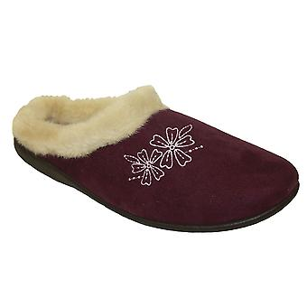 Coolers Womens Floral Embroidered Faux Fur Mule Slipper