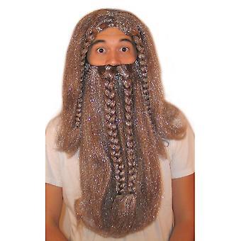 Peluca y barba vikingo de bigotes y barbas