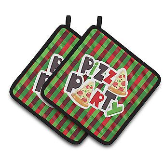 Carolines tesoros BB7059PTHD Pizza Party par de agarraderas
