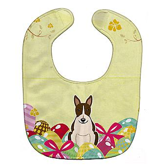 Carolines Treasures  BB6136BIB Easter Eggs Bull Terrier Dark Brindle Baby Bib