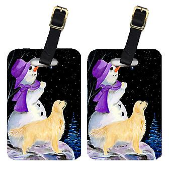 Carolines Treasures  SS8950BT Snowman with Golden Retriever Luggage Tags Pair of
