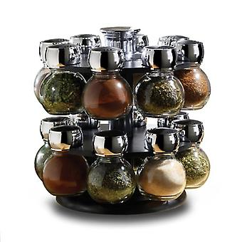 Kabalo Revolving Rotating 16 Glass Jar Spice Herb Home Cooking Rack Kitchen Food Stand Set