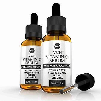 VCH 20% Vitamin C Serum med hyaluronsyra, Retinol och a-Vitamin - 2 flaskor (60ml) - Vitamin C Anti-Aging Serum - Evolution bantning