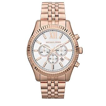 Michael Kors Ladies Lexington Chronograph Watch Rose Gold Bracelet Dial MK8313