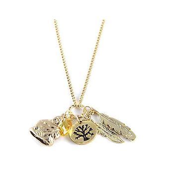 Ettika - kraag ketting charme van geluk Crystal en goud geel