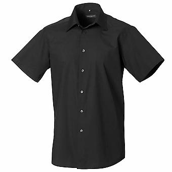 Russell Collection Cap Sleeve Polycotton Easycare Fitted Poplin Shirt
