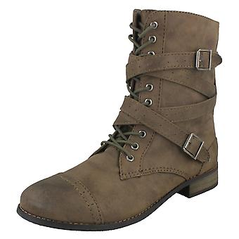 Le signore Coco stile militare con lacci stivali Flat L8641