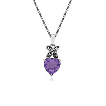Classic Heart Amethyst & Marcasite Cross Bale Pendant Necklace in 925 Sterling Silver 214P245703925