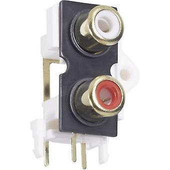 BKL électronique 072384 RCA connecteur femelle, vertical vertical nombre de broches: 2 Or, rouge, blanc 1 PC (s)