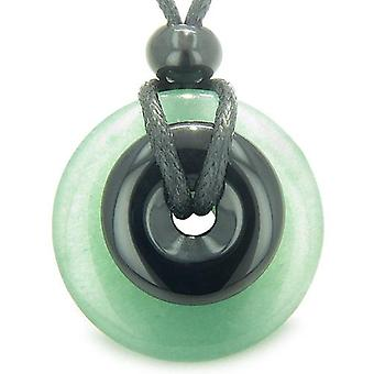 Doppelt Glück Amulett magische Donuts grünen Aventurin Onyx geistigen Schutz Geld Anhänger Halskette