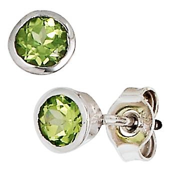 Green earrings 925 sterling silver rhodium plated 2 Peridote earrings silver