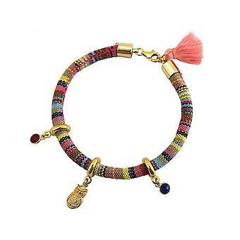 Женщины - браслет - позолоченный - АЦТЕКОВ - UHU - сова - рубиново - красный - сапфир - синий