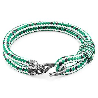 Anchor & Crew Green Dash Great Yarmouth Silver and Rope Bracelet