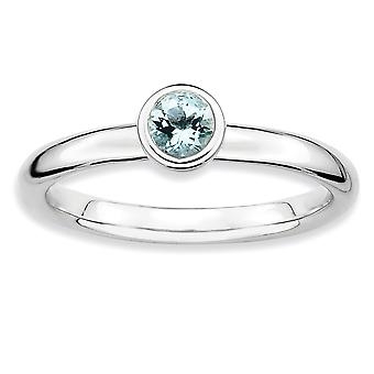 925 Sterling Silver Bezel Polished Rhodium plated Stackable Expressions Low 4mm Round Aquamarine Ring Jewelry Gifts for